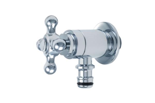 ホース接続水栓十字ハンドル(メッキ)